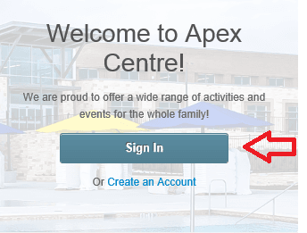 Welcome to Apex Centre screen
