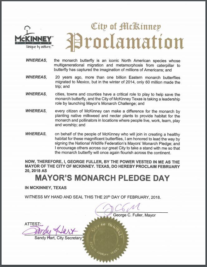 City of McKinney Mayors Monarch Pledge Proclamation 2-20-18