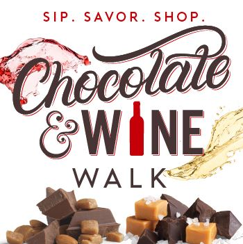Event promo for the Chocolate & Wine walk