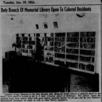 Doty Branch Opening in the newspaper 1954
