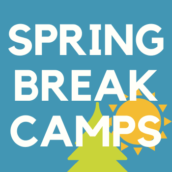 "Blue box with tree and sun text ""Spring Break Camps"""