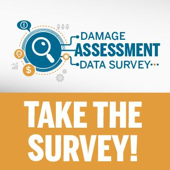 Damage Assessment Data Survey image with magnified glass, dollar sign, help icon and location icon.