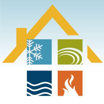 picture of house roof with icons for cold, fire, wind and  water
