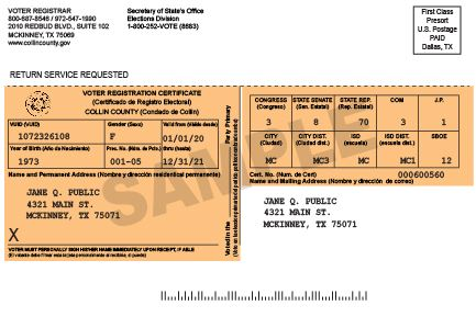 2014 Voter Registration Card