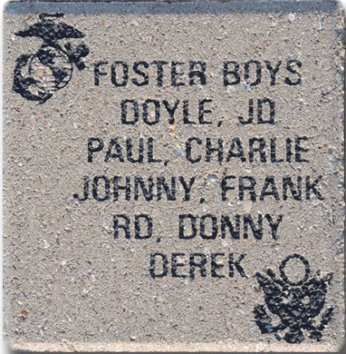 "Freedom Level Paver, 8"" x 8"", 6 lines of text, 2 emblems"
