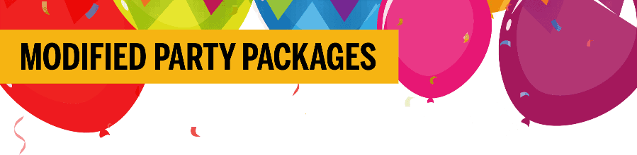 Apex Centre Modified Party Packages title with balloons