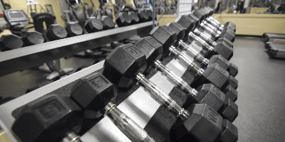 Row of free-weights on a rack