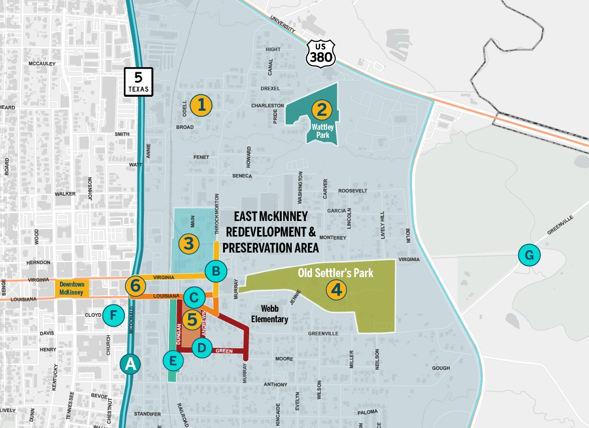 Map of East McKinney Redevelopment Area